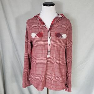 Prana Red Plaid Hooded Button Up Longsleeve Top